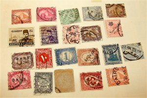 Egypt Stamp Lot---Circa 1879 to 1922------21 Stamp Lot----hinged