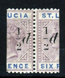 ST LUCIA Queen Victoria 1891 ½d. Surcharge on Bisected 6d. A PAIR SG 54 MINT