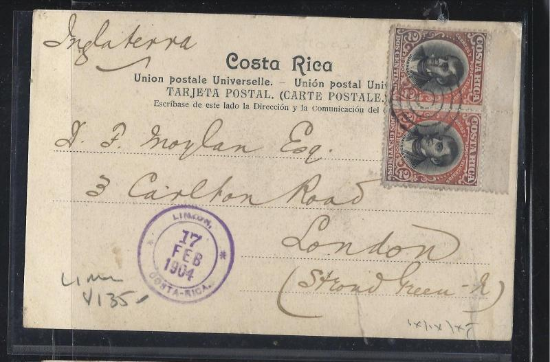 COSTA RICA  (PP2404B) 1904  2CX2  PPC  LIMON TO ENGLAND