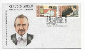 CHILE 1992 CLAUDIO ARRAU MUSICIAN PIANIST MUSIC ON SPECIAL FIRST DAY COVER FDC