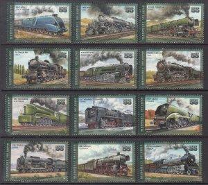 Marshall Islands 613a-613L Trains Singles MNH VF