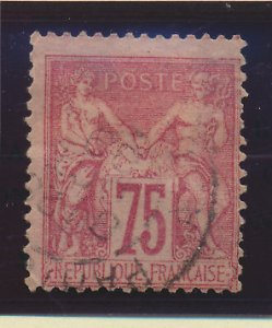 France Stamp Scott #75, Used, Town Cancel, Off Center