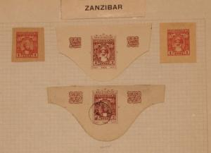 Zanzibar - 4 Early Cut Squares - Mint / Used -  Lot 061316
