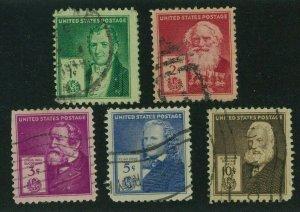 US 1940 Famous Americans: Inventors, Scott 889-893 used, Value = $3.05