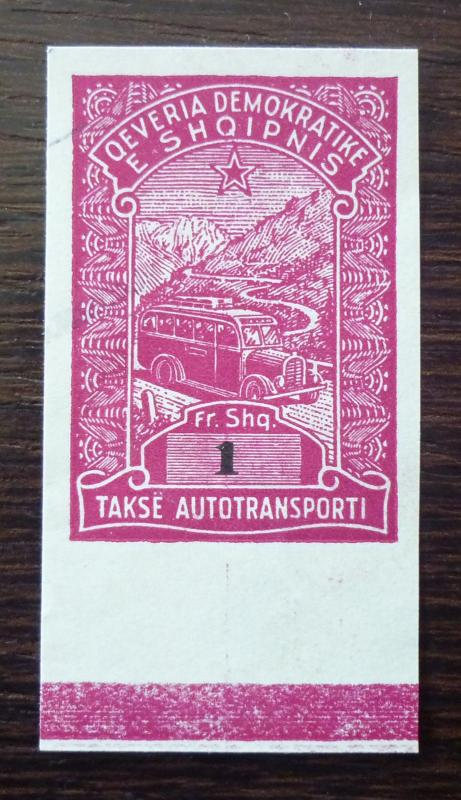 ALBANIA-IMPERFORATED REVENUE STAMP-PROOF RR!! albanien stempelmarke usa M26