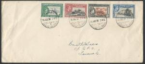 GILBERT & ELLICE IS 1956 cover GVI values to 3d, Tarawa cds................65238