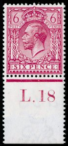SG385 SPEC N26(4), 6d pale reddish purple, LH MINT. Cat £75. CONTROL L.18 PERF.