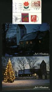 Denmark.2 Diff. Christmas Card.1977.Xmas Seal.Rindum Church.