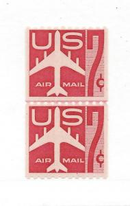 United States, C61,Jet Silhouette Airmail Coil Line Pair,MNH