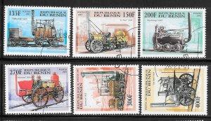 Benin #1022-1027 Antique Steam Engines  (CTO) CV $4.75