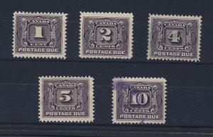 5x Canada Postage Due Stamps #J1-1c J2-2c J3-4c J5-10c Guide Value = $145.00