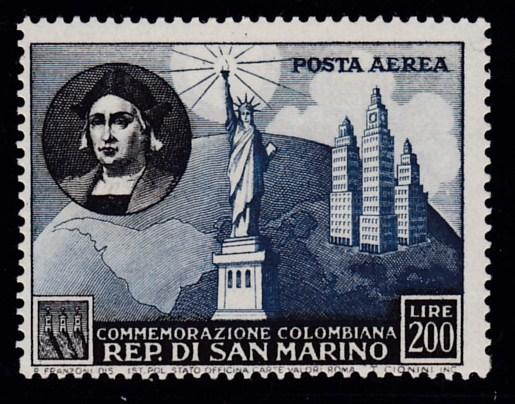 San Marino 1952 Columbus & Statue of Liberty Airmail High Value 200 Lire VF/NH