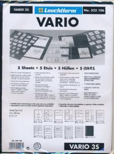LIGHTHOUSE 25 VARIO STOCK SHEETS 3S THREE POCKET BLACK BACKGROUND