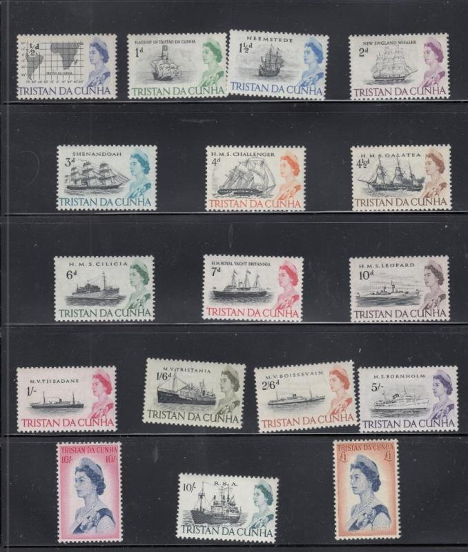 TRISTAN DA CUNHA SG # 71-84b MNH SHIPS + HIGH VALUE PORTRAITS MLH