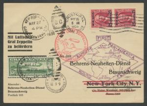 #C13 ZEPPELIN 1ST FLIGHT COVER HAVANA, CANAL ZONE, N.Y., GERMANY RARE WLM5918
