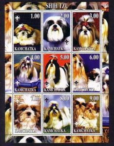 Kamchatka, 2000 Russian Local. Shih Tzu, Dogs sheet of 9. ^