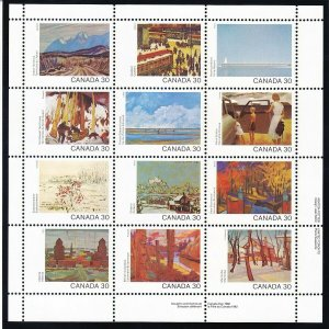 Canada 966a MNH OG 1982 Paintings Mini Sheet of 12 Very Fine