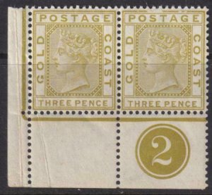 Gold Coast 1875 SC 16 MNH Pair with Tab