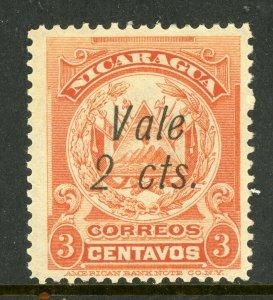 Nicaragua 1910 Provisional 2¢/3¢ ABNC Scott 256  MNH  L839