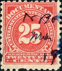 #R213 – 1914 25c ros, offset,dl wmk, perf 10. Used.