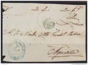 O) 1864 PUERTO RICO, SEAL BLUE ALCALDIA PEPINO, TO AGUADILLA