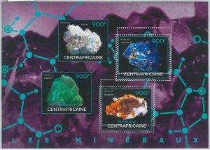 866 - CENTRAL AFRICAN R. - ERROR - MISSPERF stamp sheet 2014   Minerals
