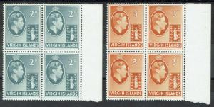 BRITISH VIRGIN ISLANDS 1938 KGVI 2D AND 3D MNH ** BLOCKS