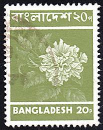 Bangladesh # 46 used ~ 20p Flowers - Hibiscus