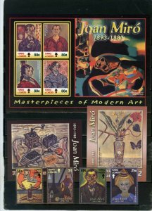 TURKS& CAICOS 2003 PAINTINGS BY JOAN MIRO SET OF 4 STAMPS, SHEET & 2 S/S MNH