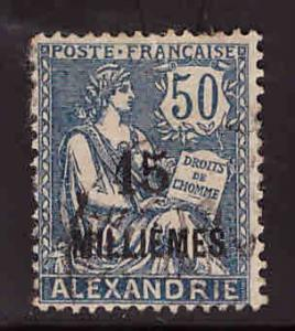 French office in Alexandria Egypt Scott 56 Used surcharged stamp