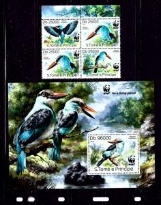 St Thomas and Prince Is 2669-70 MNH Birds block of 4 and S/S