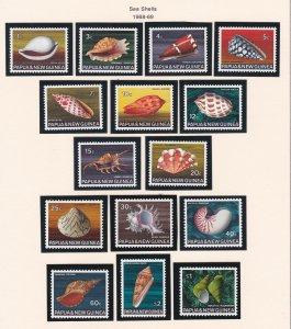 Papua New Guinea # 265-279, Sea Shells, NH, 1/2 Cat..