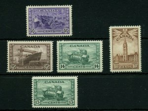 War issue 13c MH, 10c to 50c MNH Cat $110 Canada mint