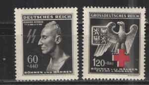 Germany - Bohmen und Mahren 1943 Sc# B20-B21 MNH/MH VG/F - Heydrich/Red Cross