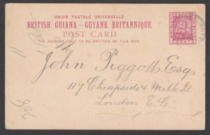 BR GUIANA 1894 2c postcard commercially used Georgetown to London...........R699