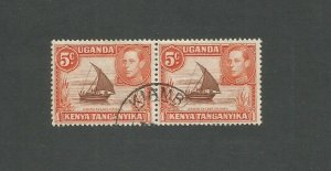 Kenya, Uganda & Tanganyika 1938 5c Brown & Orange Fine Used Pair SG 133a