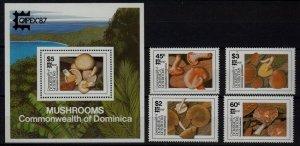Dominica 1024-28 MNH Mushrooms SCV21.75
