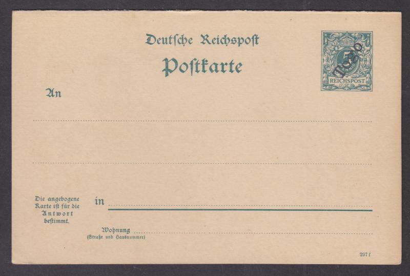 Togo Mi P3I, 297f mint. 1898 5pf + 5pf Postal Reply Double Card