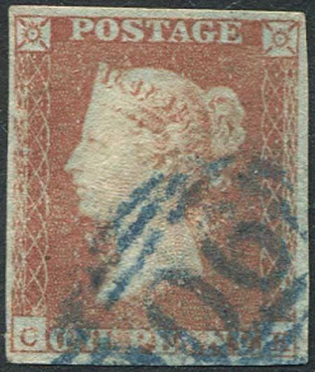 1841 Penny Red (CK) Cat £250 with Woburn 906 Cancel in Blue Clear Profile