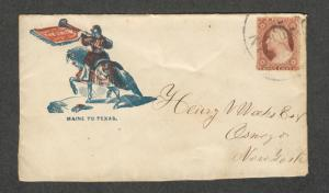 US Patriotic Cover Sc#26 Maine To Texas Union Rare Front Only