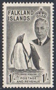 Falkland Islands 1952 1/- Gentoo Penguins MH