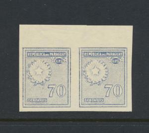 PARAGUAY 1928, 70c IMPERF PAIR VF MNH Sc#286var (SEE BELOW)