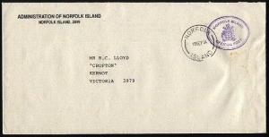 NORFOLK IS 1994 Official mail cover to Australia...........................97426