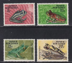 Papua New Guinea # 257-260, Frogs, NH, 1/2 Cat.