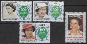 British Virgin Islands Scott 532-535 MNH 1986 Queen Elizabeth 60th Birthday Set
