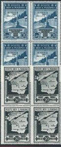 1943 San Marino, N° 253/265 + A 34/41 21 Values MNH / Quartina