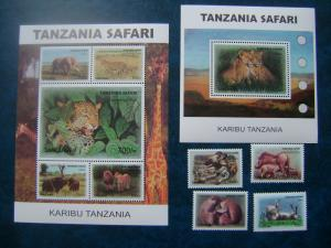 Tanzania 2007 wildlife fauna lions wild cats of prey elephants set+klb+s/s MNH