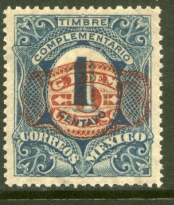 MEXICO 598, $1P ON 1¢ BARRIL SURCHARGE. UNUSED, H OG. VF.
