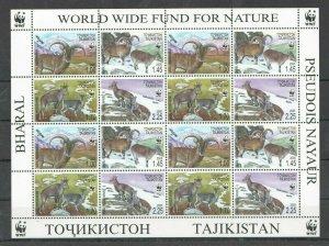 KS 2005 TAJIKISTAN WWF FAUNA WILD ANIMALS BHARALS 1SH MNH