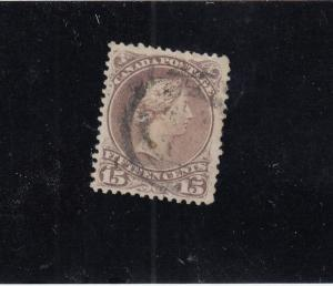 CANADA # 29b 15cts LARGE QUEEN LIGHT USED CAT VALUE $150